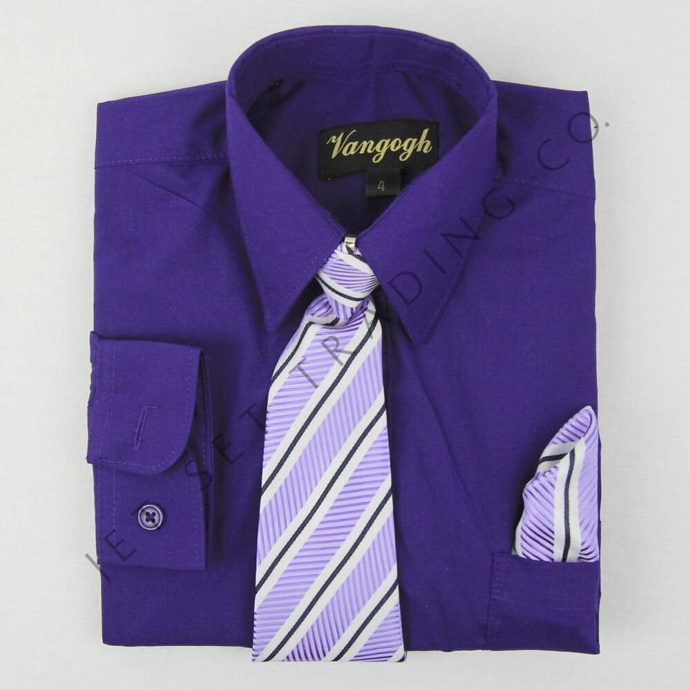 Boys Purple Dress Shirt With Matching Tie Hankie Long
