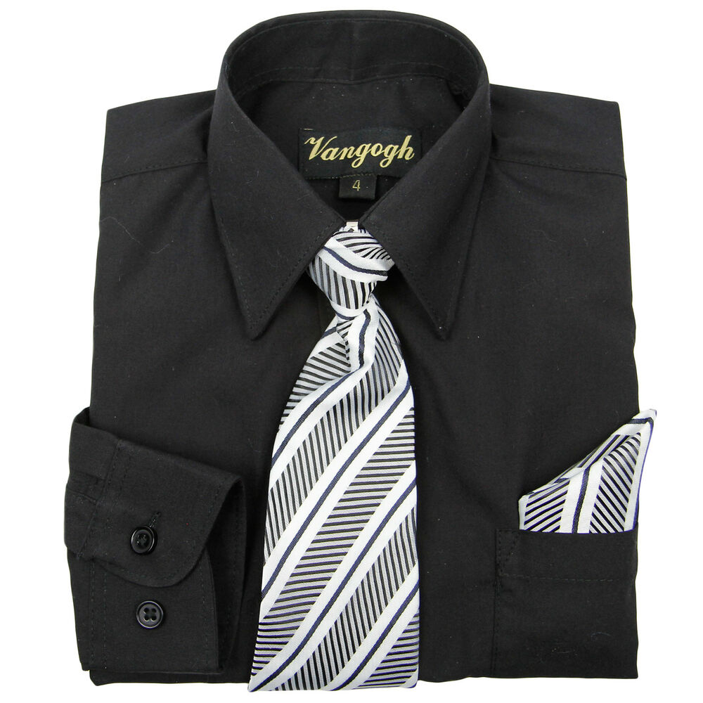 Boys Black Dress Shirt With Matching Tie Hankie Long