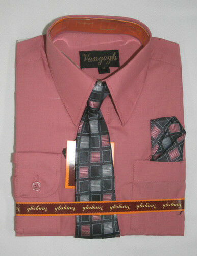 BOYS HOT PINK DRESS SHIRT WITH MATCHING TIE LONG SLEEVE ...