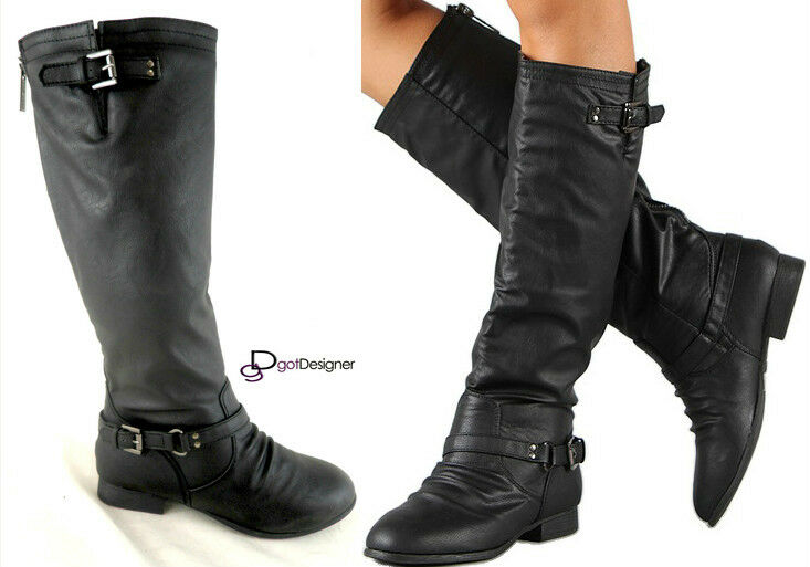 New Womens Fashion Knee High Riding Boots Shoes Slouch Stylish Buckle Black Ebay