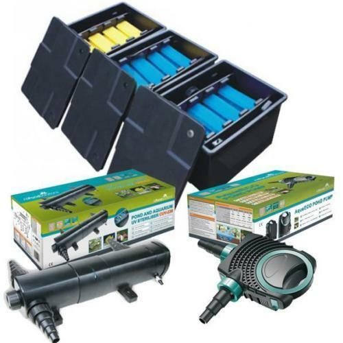 Complete koi fish box filter system pond pump uv for Fish pond filters for sale