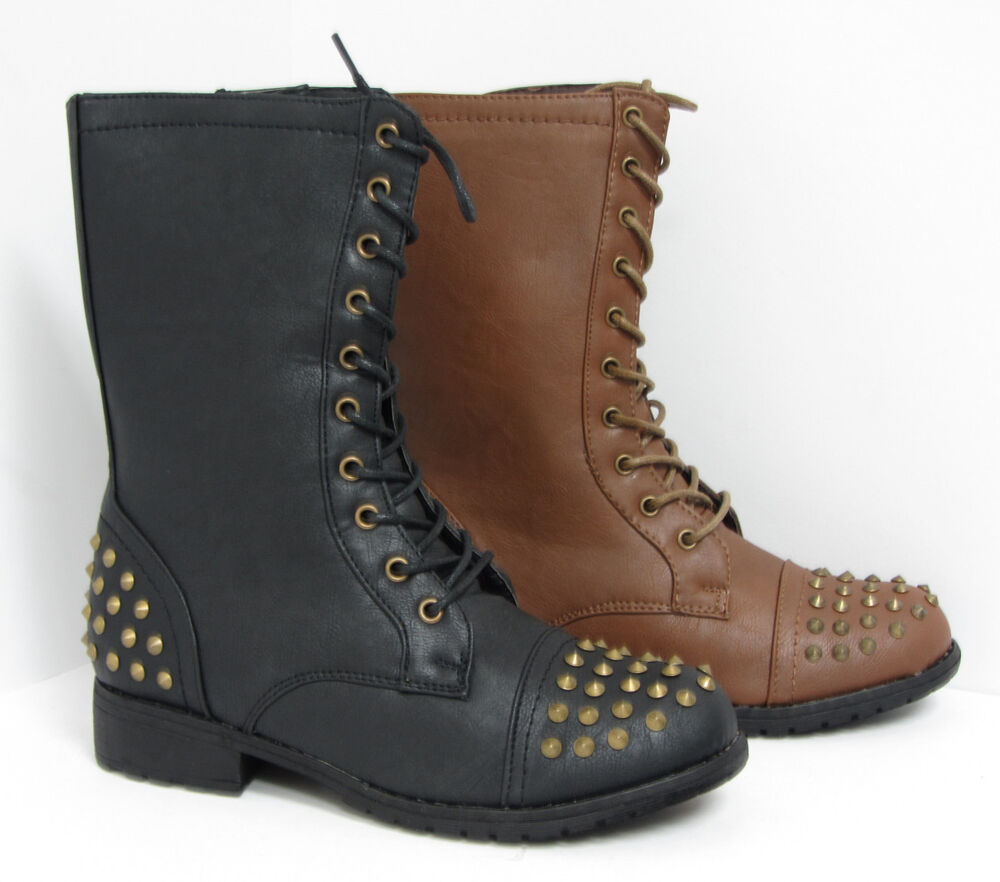 womens studded combat boots motorcycle