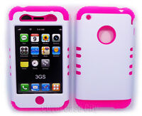 Pink Soft Hybrid 2 in 1 Skin Case On White Hard Cover For Apple iPhone 3G 3GS