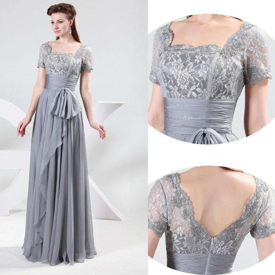 Long Chiffon Lace Formal Bridesmaid Long Evening Dress