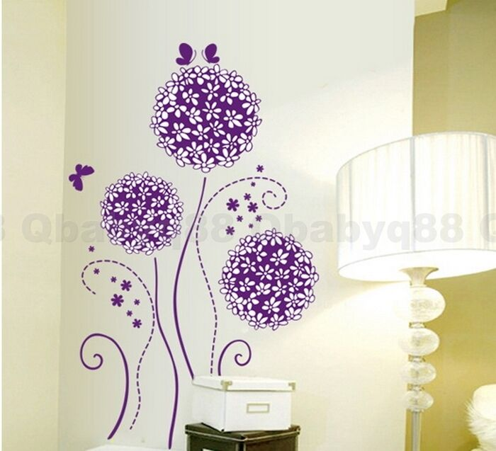 Purple Pollen Removable Wall Art Decal Sticker Diy Home: Purple Dandelion Flower Tree Butterfly Wall Decals Art
