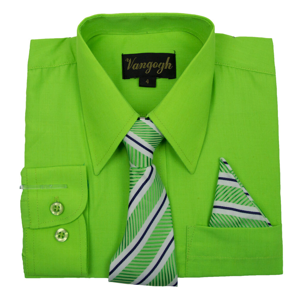 Toddler lime dress shirt with matching tie hankie long for Bright green t shirt dress