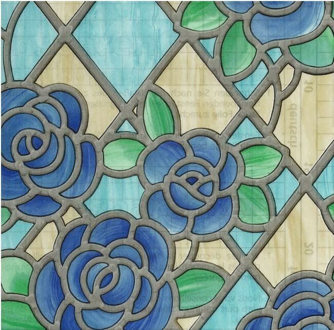 Amiens blue stained glass decorative window film self for 18 x 60 window