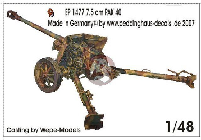 German 50 Mm Anti Tank Gun: Peddinghaus 1/48 7.5cm PaK 40 L/46 German Anti-tank Gun