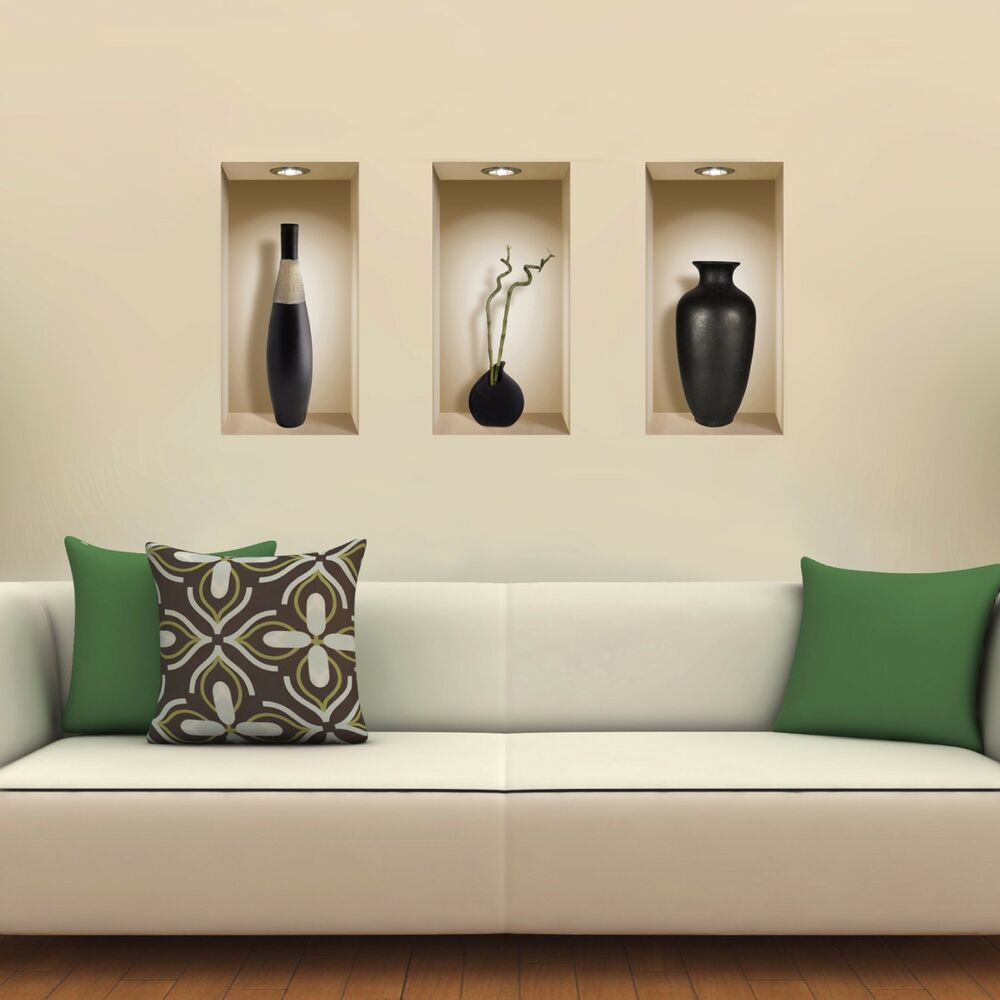 New Set 3 Art Wall Sticker 3d Magic Picture Niche Home Decor Decals Tile Kitchen Ebay