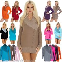 New Ladies Womens 5 Button V Neck Jumper Knitted Dress size S M L XL 8-10-12-14