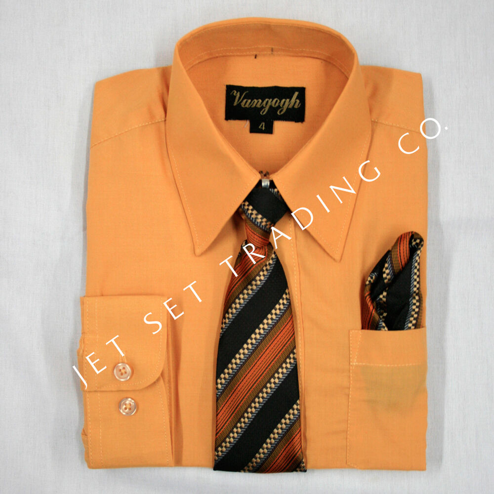 Boys pumpkin dress shirt with matching tie long sleeve for Matching ties with shirts