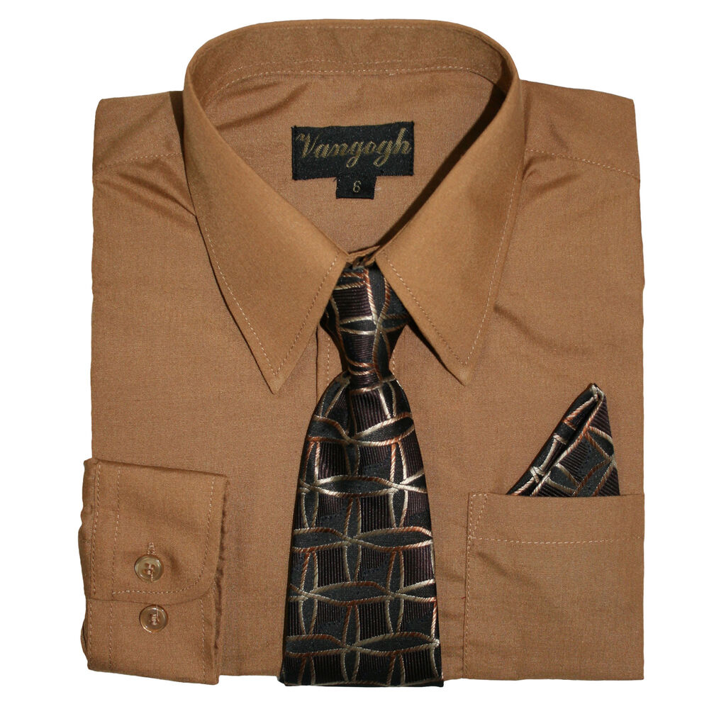 Boys Brown Sugar Dress Shirt With Matching Tie Long Sleeve