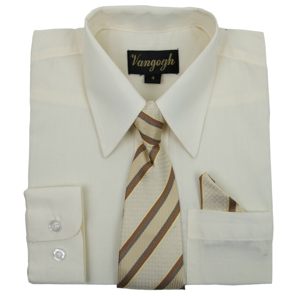 Boys Cream Dress Shirt With Matching Tie Hankie Long