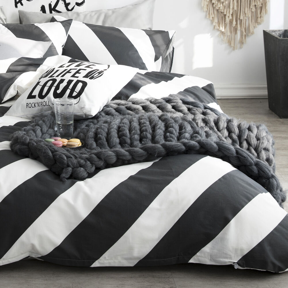 100 Cotton Black White Diagonal Stripe Duvet Cover Set