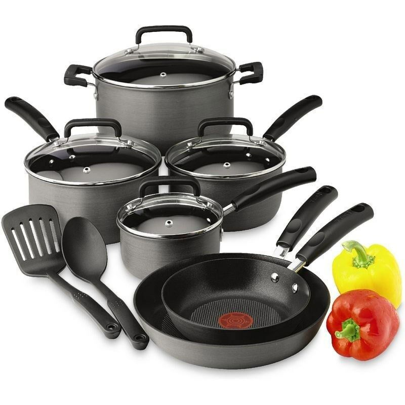 hard anodized signature 12 piece cookware set aluminum non stick saute fry pans ebay. Black Bedroom Furniture Sets. Home Design Ideas