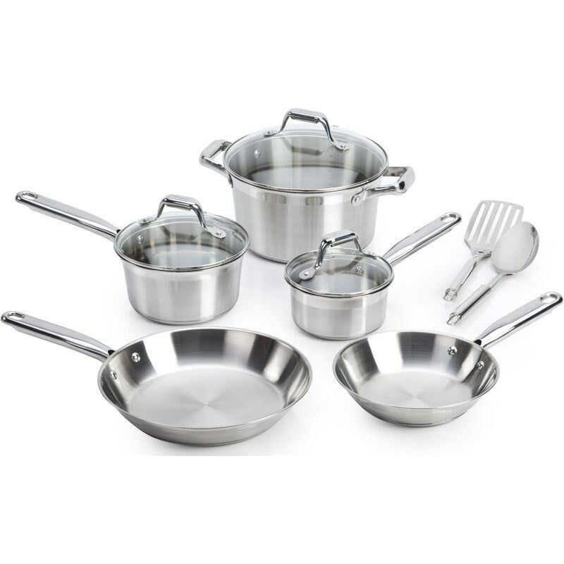 stainless steel 10 piece cookware set induction cooktop pots elegance sauce pan ebay. Black Bedroom Furniture Sets. Home Design Ideas
