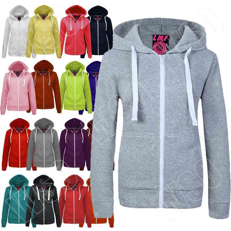 New Womens Ladies Hoodie Plain Zip Up Hooded Top Jacket -1752