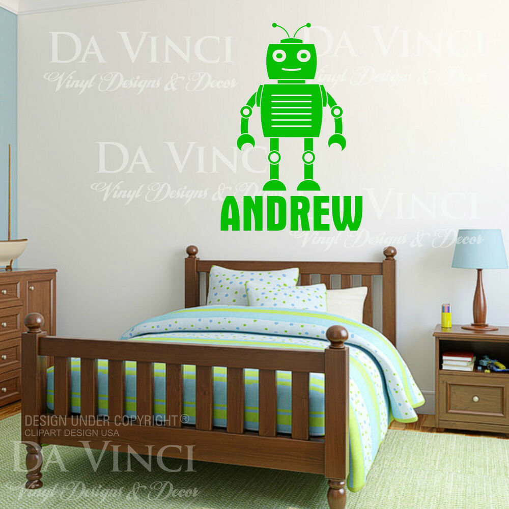 Personalized Custom Name Boy Robot Vinyl Sticker Wall
