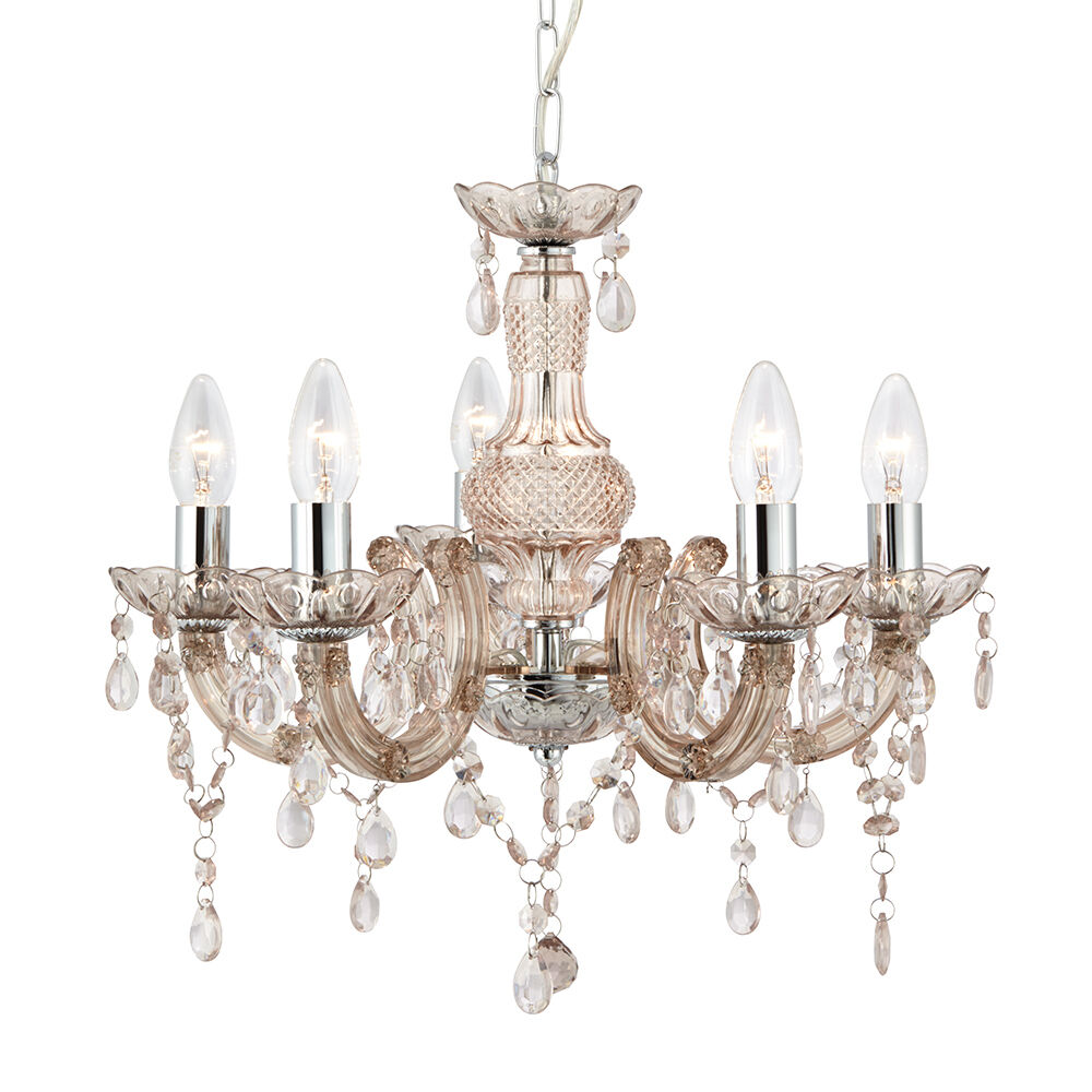 Marie therese chandelier ceiling light in champagne mink 5 light chandelier ebay - Chandelier ceiling lamp ...