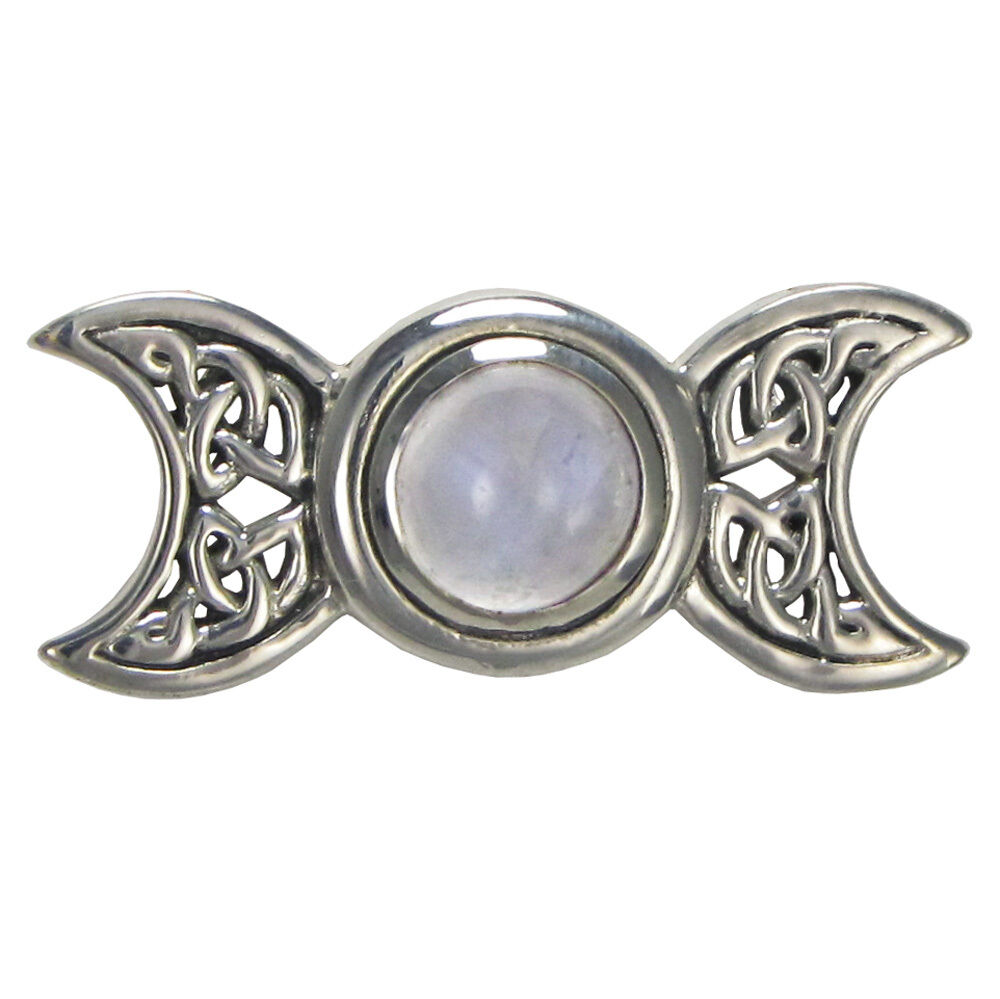Sterling Silver Celtic Knot Triple Moon Goddess Moonstone ...