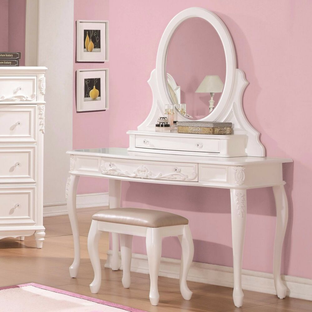 Fabulous white vanity dressing table stool bedroom for Bedroom table chairs