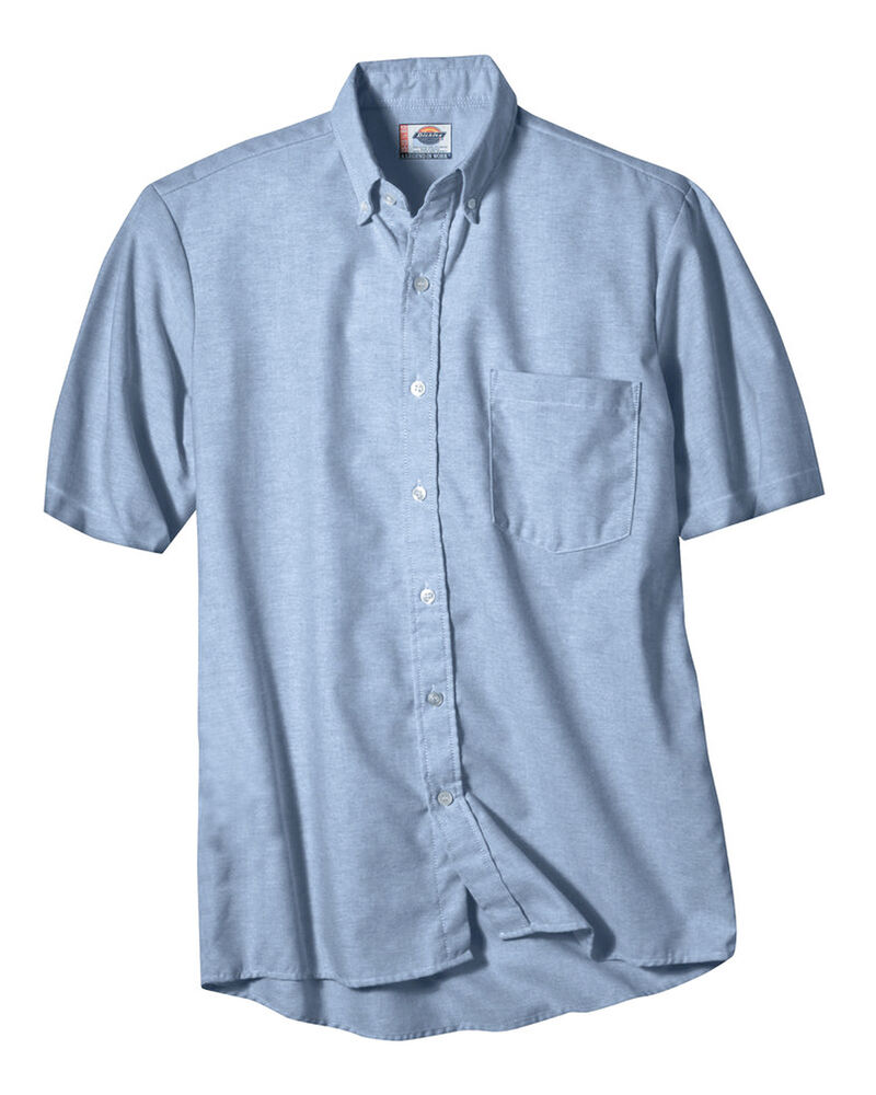 Dickies mens blue oxford shirt button down short sleeve for Mens short sleeve oxford shirt