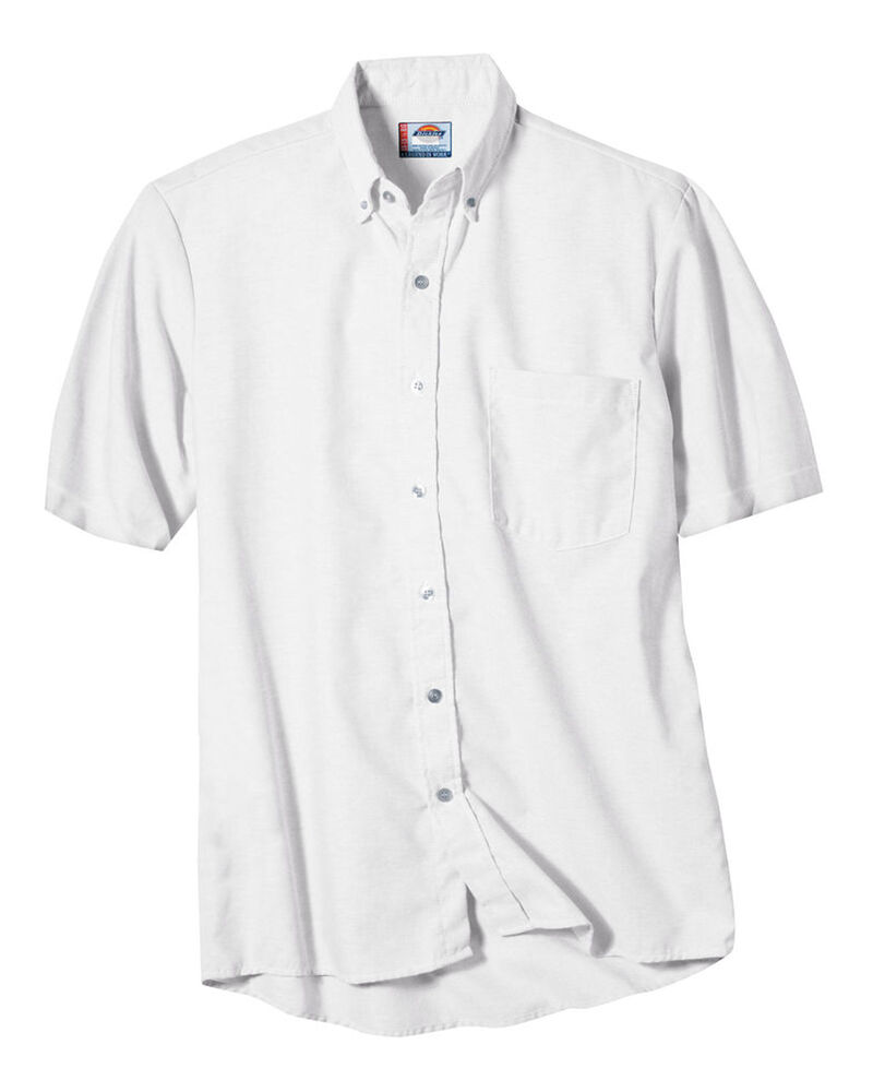Dickies mens white oxford shirt button down short sleeve for Mens white oxford button down shirt