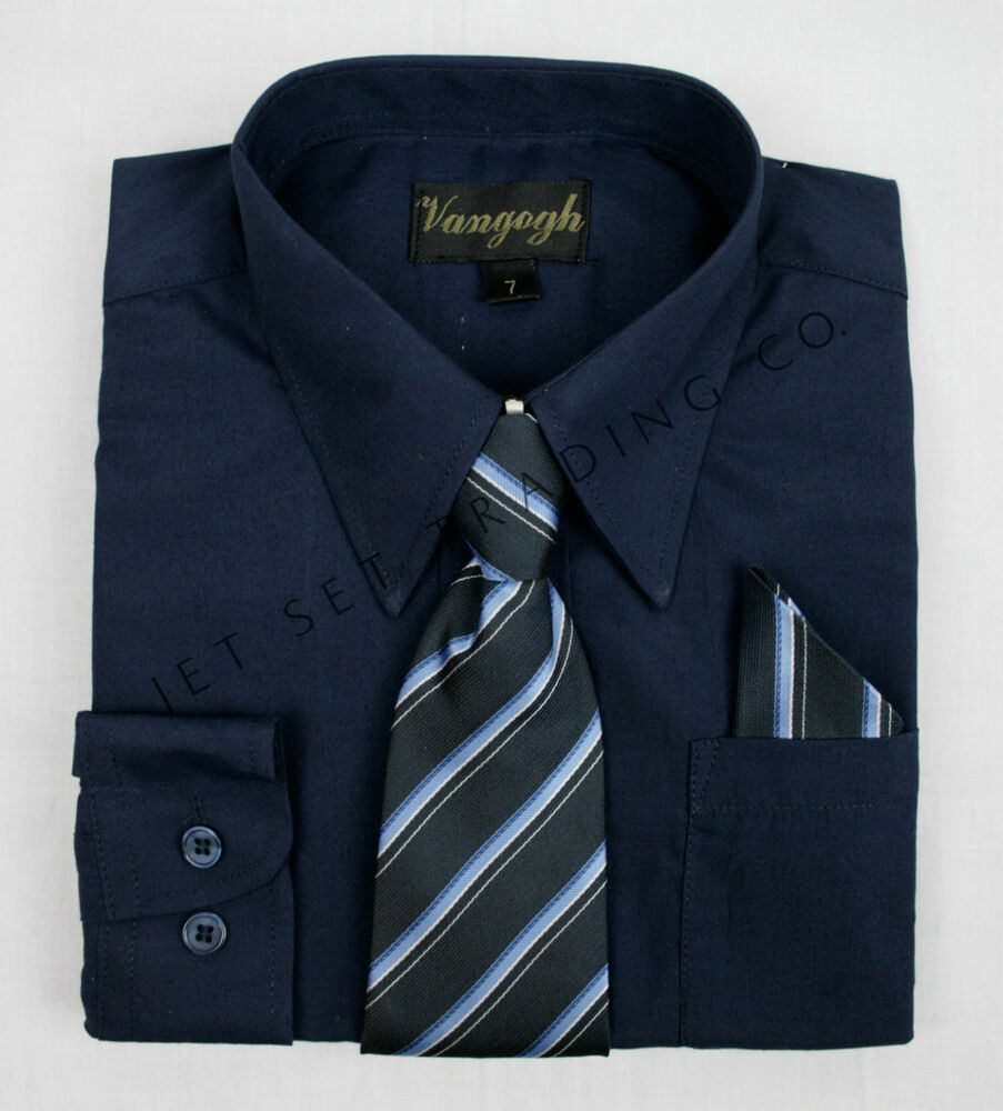 Boys Navy Blue Dress Shirt With Matching Tie Hankie Long