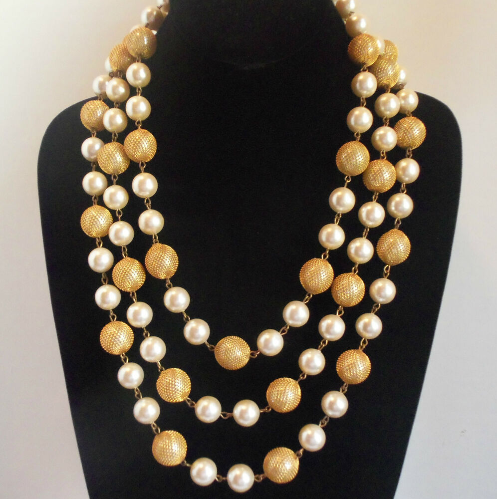 vintage heavy long layered pearl necklace gold plated mesh. Black Bedroom Furniture Sets. Home Design Ideas