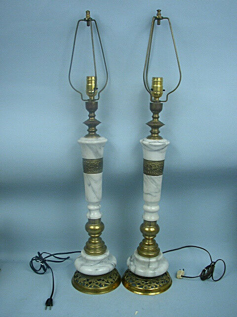 Vintage 34 Quot Brass Amp Marble Table Lamp Buy One Or Both Ebay