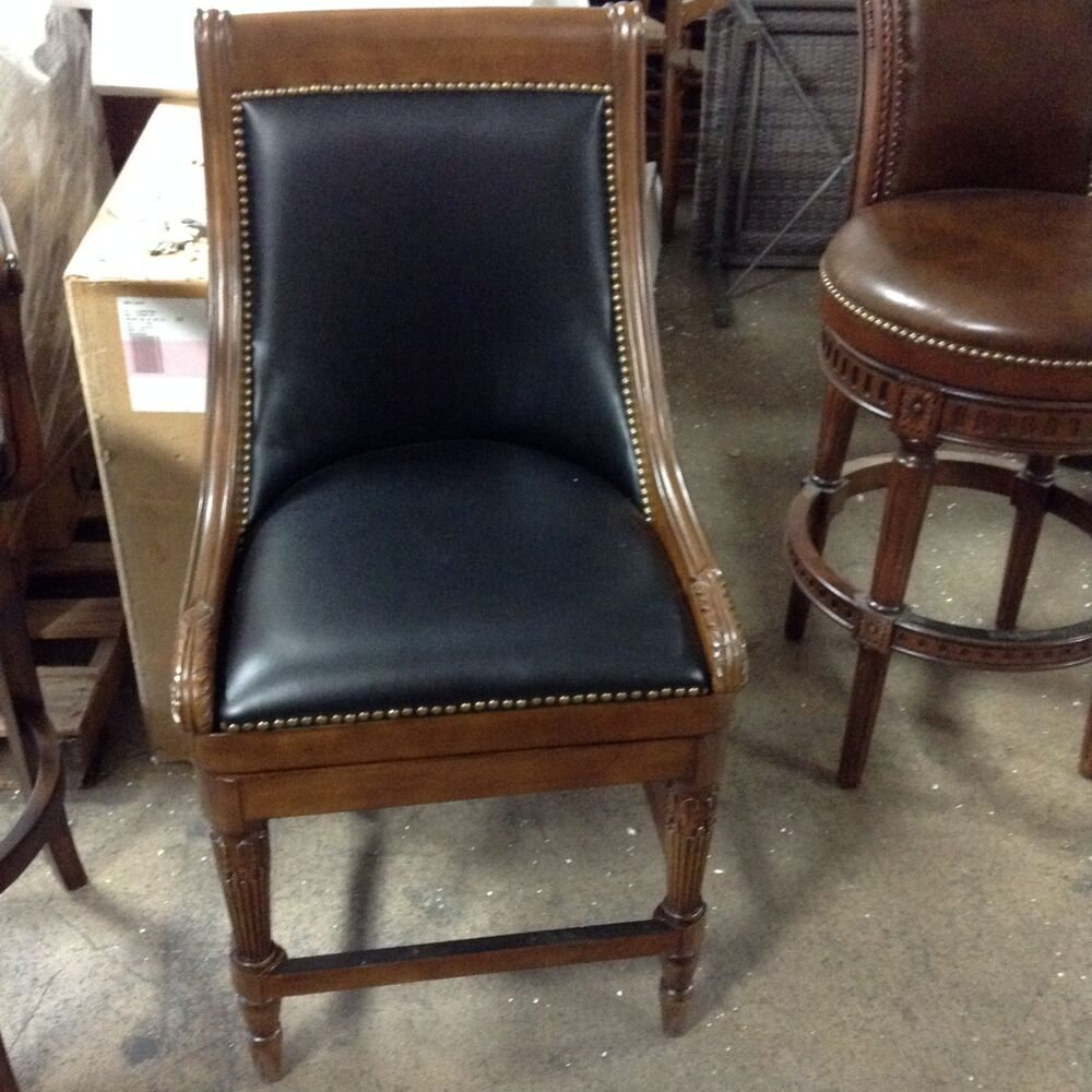Frontgate Kent Black Leather Barstool Bar 30 Quot Seat Wood