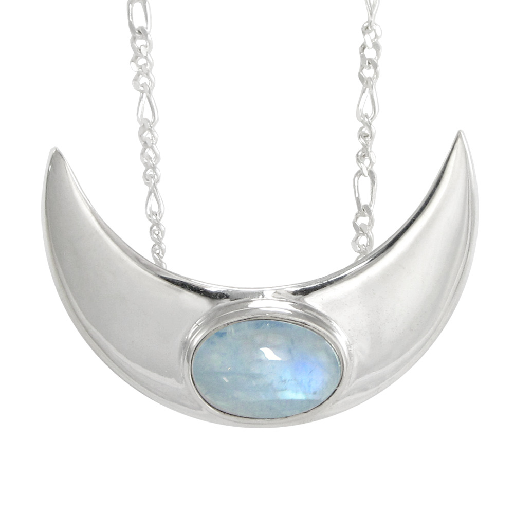 large sterling silver crescent moon rainbow moonstone