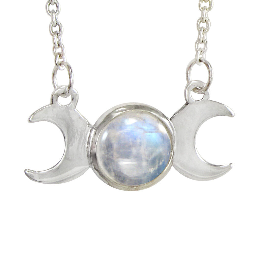 Moonstone Necklaces: Sterling Silver Moon Phase Triple Goddess Rainbow