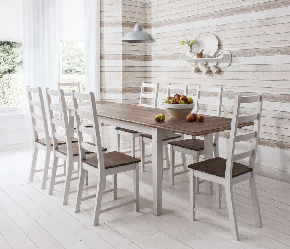 Dining table and chairs dark pine and white with extending for Large dark wood dining table