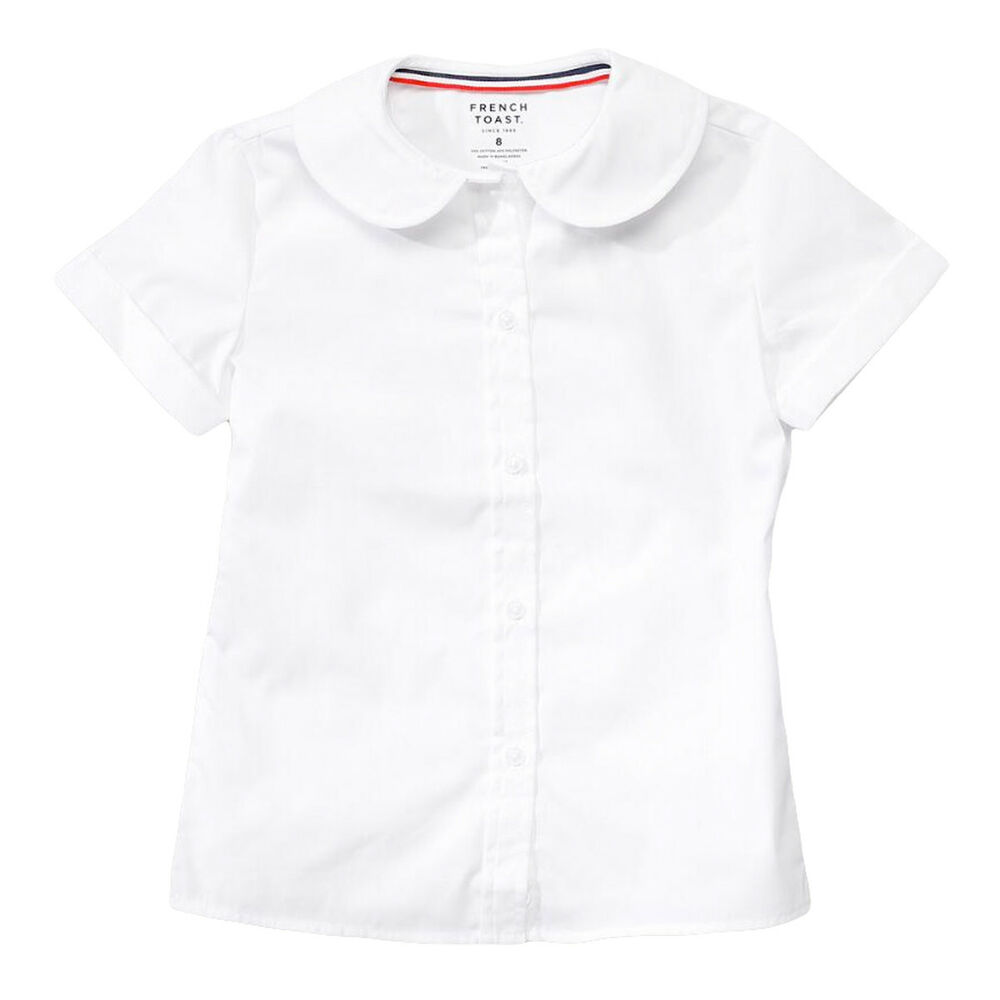 c14428fcdd0d5a Details about Girls White Blouse Peter Pan Collar Short Sleeve French Toast  Sizes 4 to 20