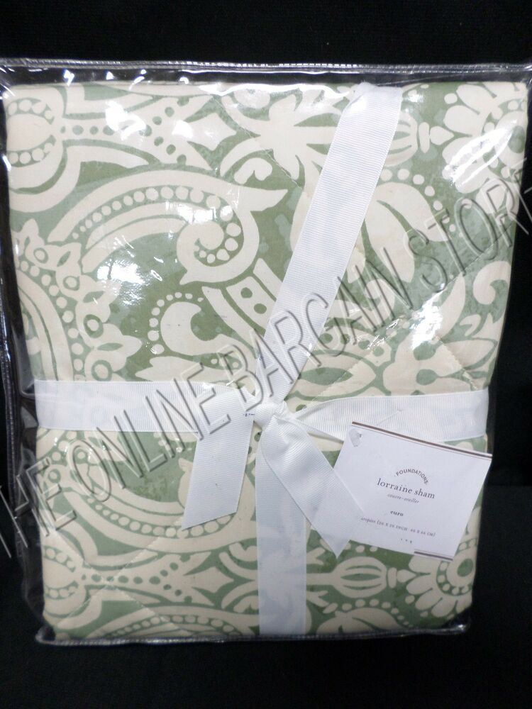 Euro Buy Back >> Pottery Barn Lorraine Quilted Damask Floral Bed Pillow Sham Euro Square Green | eBay