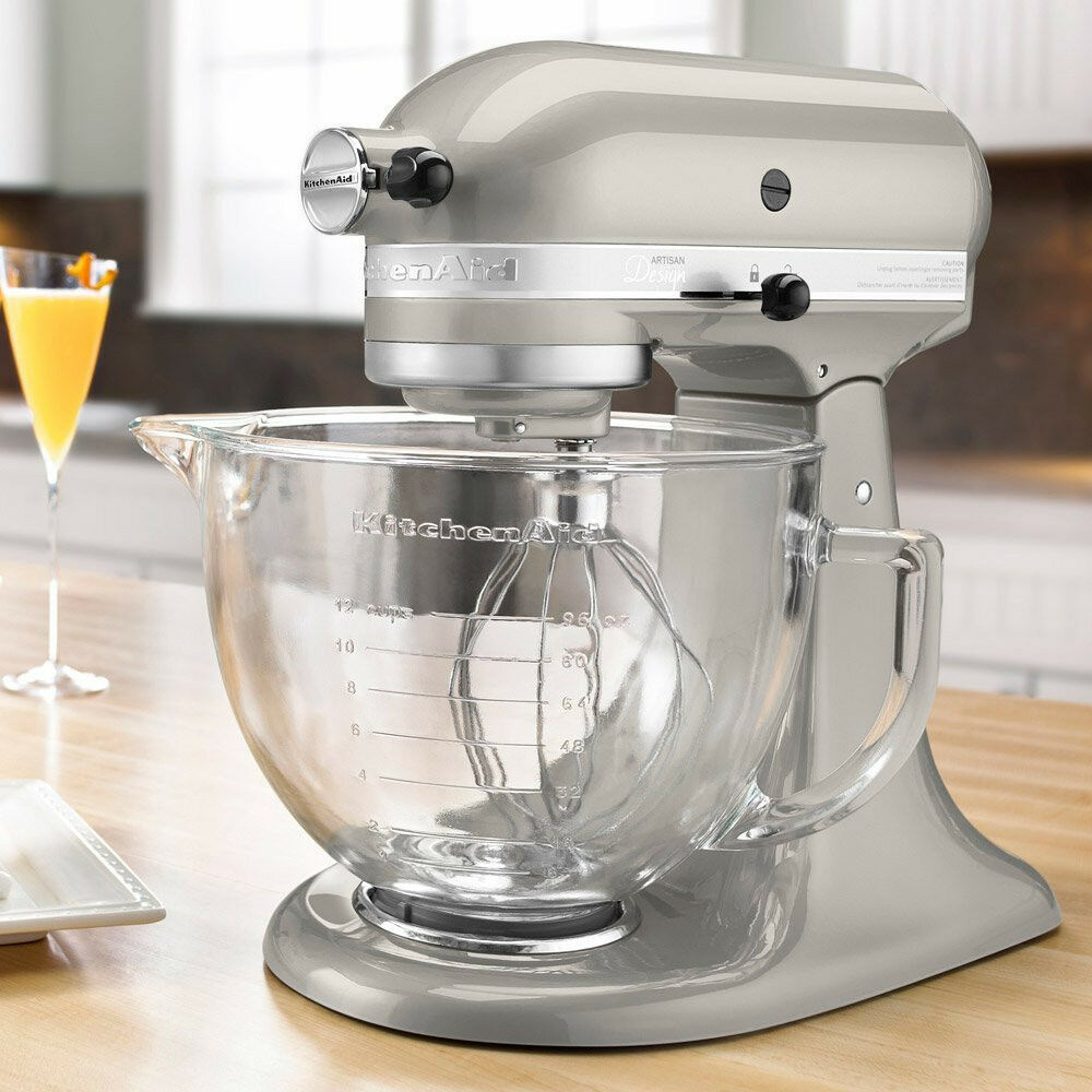 kitchenaid stand mixer with glass bowl delux artisan design tilt silver 883049240626 ebay. Black Bedroom Furniture Sets. Home Design Ideas