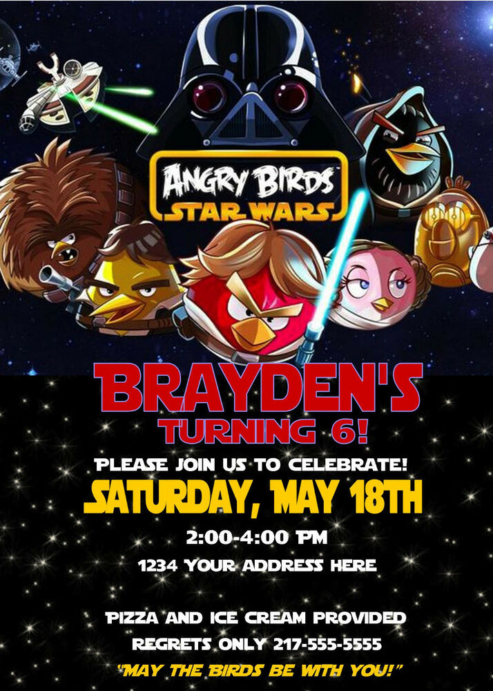 Details About Angry Birds Star Wars Custom Birthday Invitations U Print