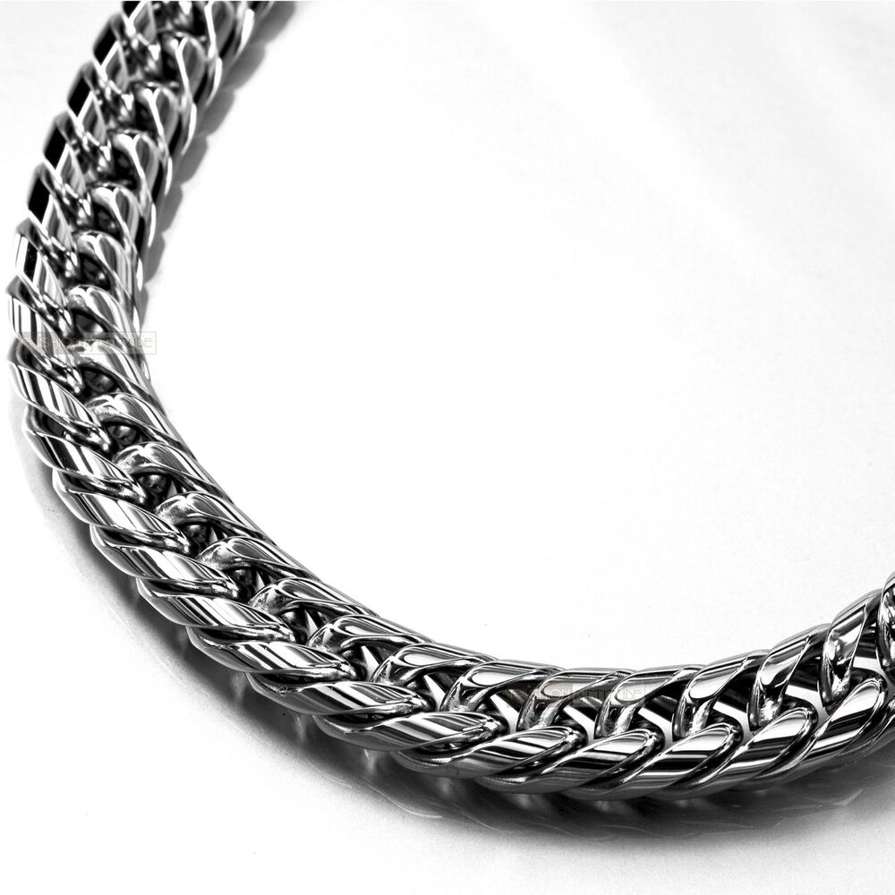 Silver Necklace Stainless Steel Miami Curb Chain Mens