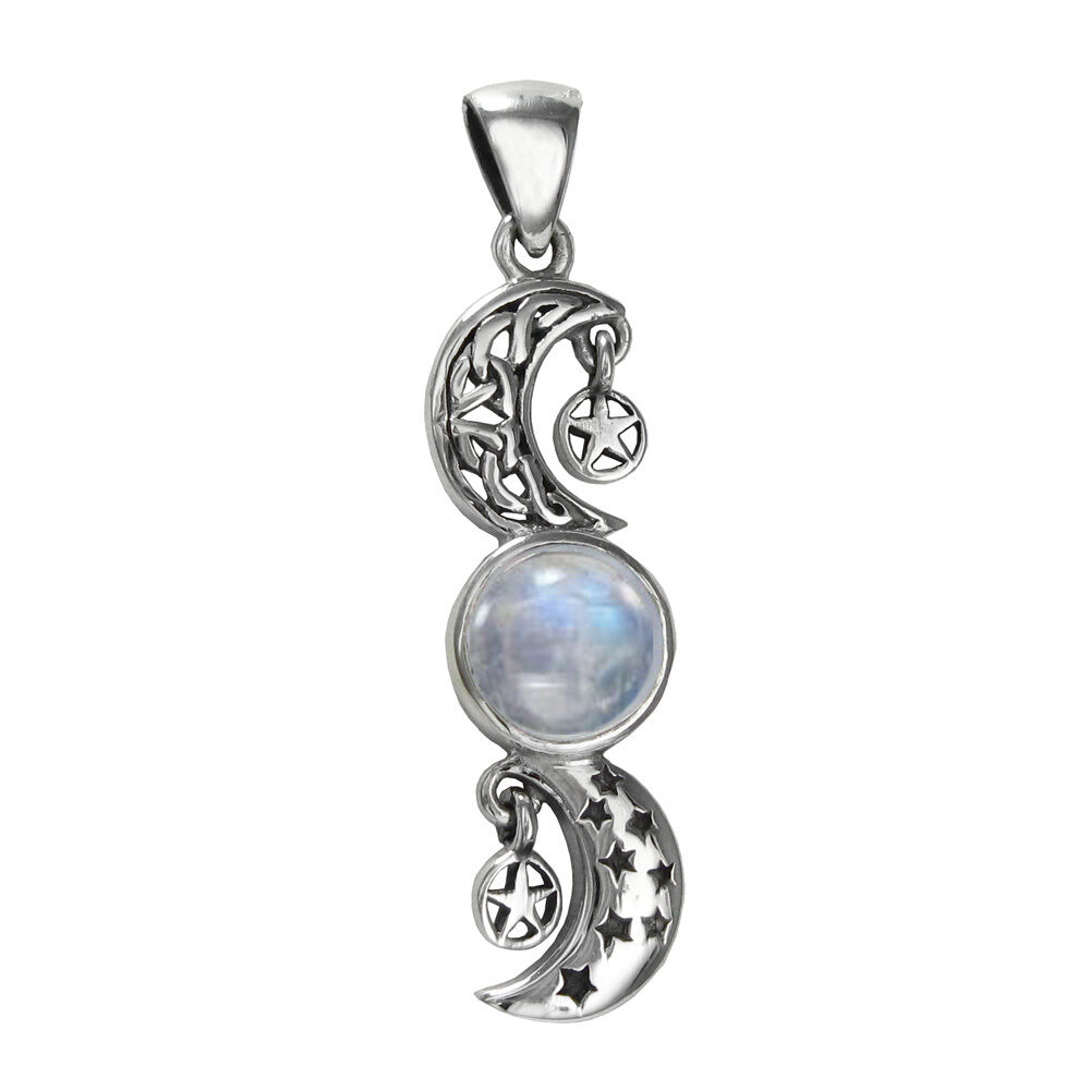 Sterling Silver Celtic Crescent Moon Stars Rainbow ...