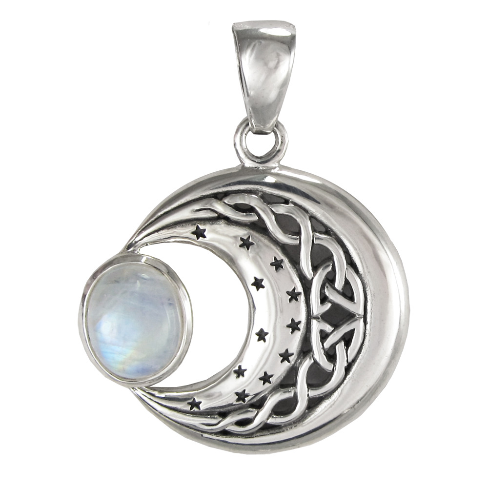 Sterling Silver Celtic Knot Moon Stars Rainbow Moonstone ...