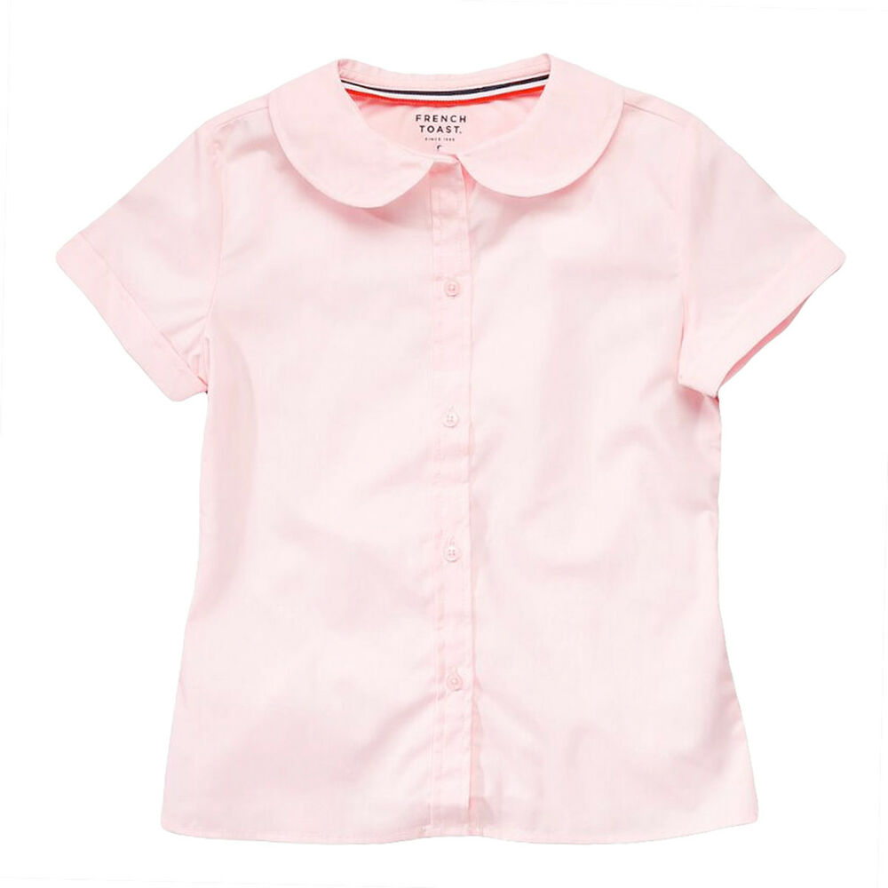 Pink Girl Blouse Peter Pan Collar Short Sleeve French