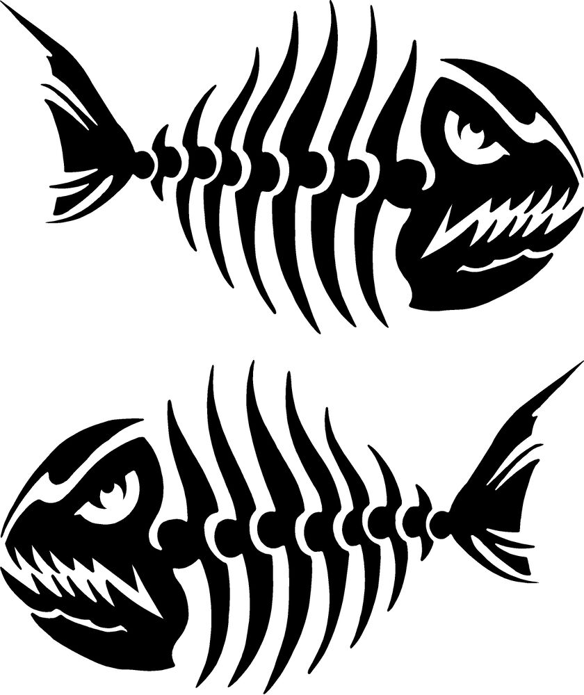 2 4 x 7 fish skeleton decals sticker ice fishing for Fishing vinyl decals