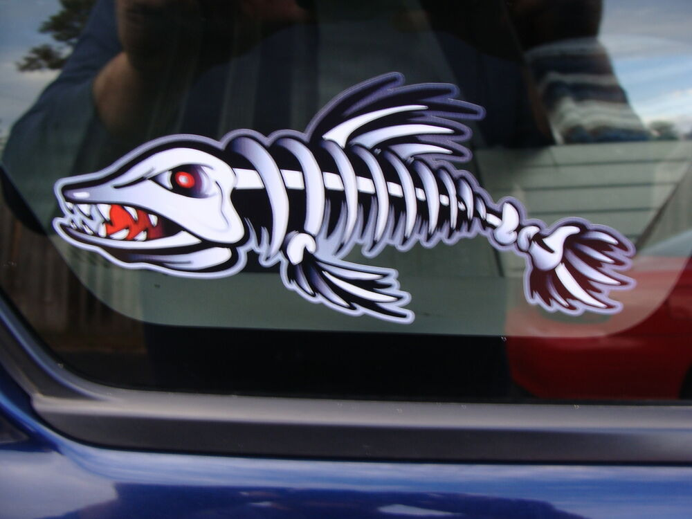 2 3 x 7 fish skeleton decals sticker boat musky pike for Fishing boat decals