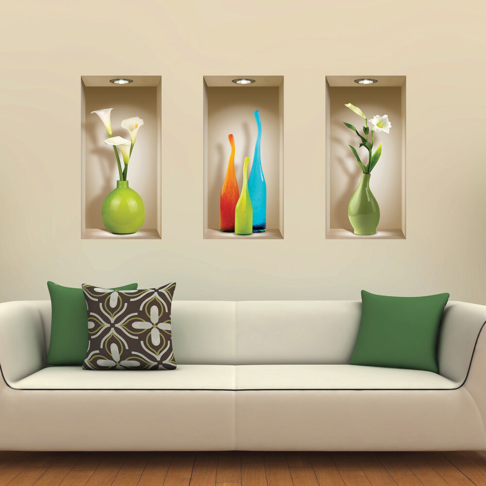 Set 3 art wall sticker 3d decals picture removable home for Home decor 3d stickers