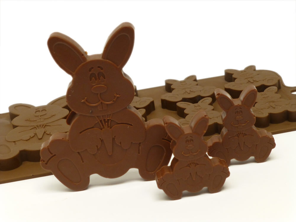 6 1 Easter Bunny Rabbits Chocolate Silicone Bakeware Mould