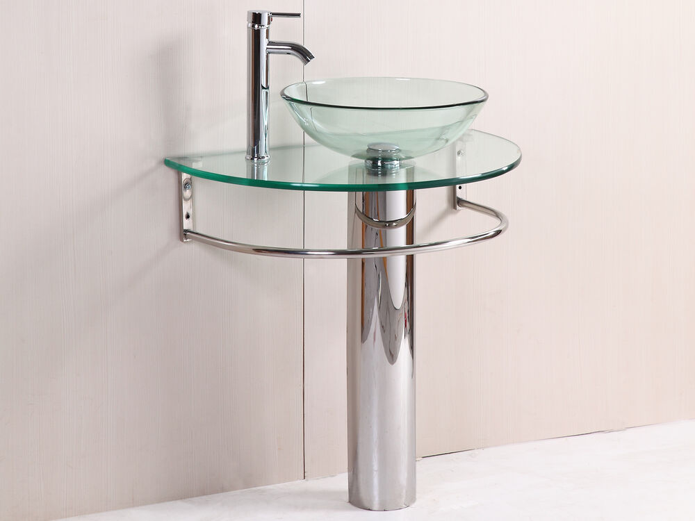 Tall Contemporary Chrome Bathroom Vessel Sink Faucet: Modern Bathroom Vanities Pedestal Vessel Glass Furniture