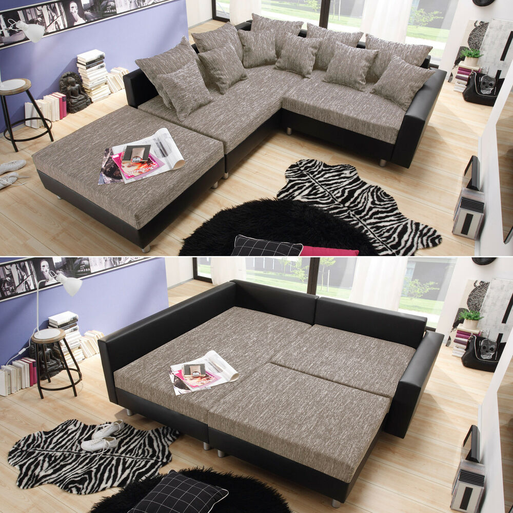 ecksofa claudia wohnlandschaft ottomane links sofa mit hocker schwarz graubeige ebay. Black Bedroom Furniture Sets. Home Design Ideas