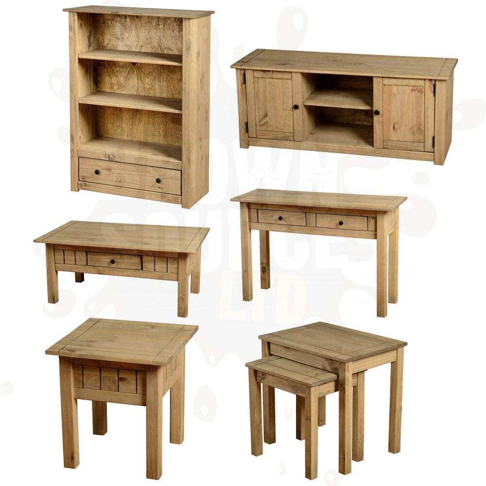 Pine living room furniture coffee table tv stand nest of for Living room table sets with tv stand
