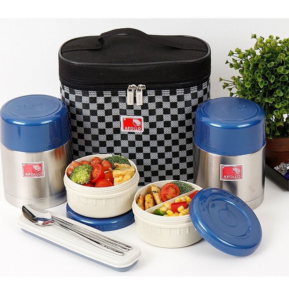 stainless steel thermal bento box sealed lunch box set insulated bag 450ml 450ml ebay. Black Bedroom Furniture Sets. Home Design Ideas